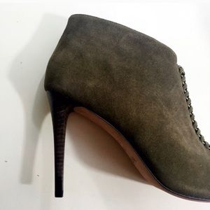 Coach Olive Suede Chain Detail Peep toe Booties